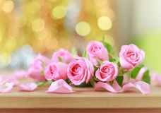 Beautiful pink roses and bokeh background Royalty Free Stock Images