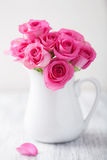 Beautiful pink roses bouquet in vase Royalty Free Stock Image