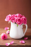Beautiful pink roses bouquet in vase Stock Image