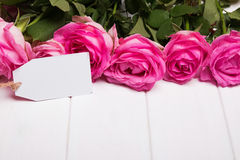 Beautiful pink roses and empty paper card on the white wooden ta Stock Images