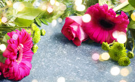 Beautiful pink roses and gerberas Royalty Free Stock Photography