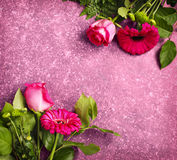 Beautiful pink roses and gerberas Royalty Free Stock Photo