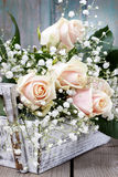 Beautiful pink roses and gypsophila paniculata Stock Photos
