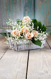 Beautiful pink roses and gypsophila paniculata Royalty Free Stock Photo