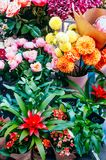 Beautiful bouquets at flower market royalty free stock images