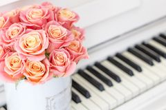 Beautiful pink roses in a round box on the piano. Roses in a Hat Box. Beautiful pink roses in a round box on the piano Royalty Free Stock Photography