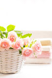 Beautiful, pink roses and towels. Beautiful, pink roses in a white basket close up Stock Photo