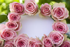 Beautiful pink roses with a white letter Royalty Free Stock Photo