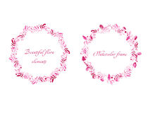 Beautiful pink round frames of raspberry    and leaves Stock Photography