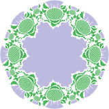 Beautiful pink round vignette of flowers thistle Royalty Free Stock Photos