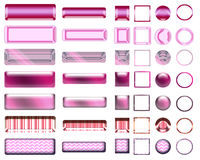 A beautiful pink selection of website buttons in different shapes. A colorful pink selection of buttons to add to your website on the internet Stock Images