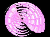 Beautiful pink shell. 3D - Beautiful nacre sea shell on black Stock Photography
