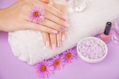 Beautiful pink and silver manicure with flowers and spa essentials. On purple background Royalty Free Stock Photography
