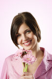 Beautiful pink smiling girl Royalty Free Stock Images