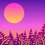 Beautiful pink sunset. Nice gradient background. Big sun. Tropical leaves. Tropical, nature, rest. Background for posters. Stock Photos