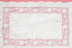 Beautiful Pink tablecloth. And flower lace - tablecloth texture Royalty Free Stock Photo