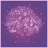 Beautiful pink tree on violet background Royalty Free Stock Photo