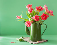 Free Beautiful Pink Tulip Flowers Bouquet In Green Pot Royalty Free Stock Photography - 69458507