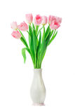 Beautiful Pink tulips flowers in vase isolated on white backgrou Stock Photos