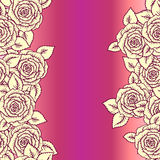 Beautiful pink and vintage yellow seamless pattern made of roses  Stock Photos