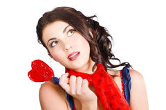 Beautiful pinup girl holding candy. Sweet heart Stock Images