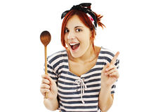 Beautiful Pinup Style Housewife With Wooden Spoon Royalty Free Stock Photos