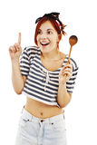 Beautiful pinup style housewife with wooden spoon Stock Images