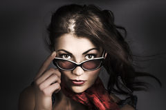 Beautiful pinup woman. Dark 50s fashion portrait Royalty Free Stock Images