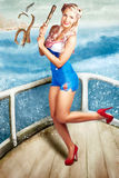 Beautiful Pinup Woman On Sightseeing Travel Cruise Stock Image