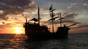 Pirate ship at sunset stock video footage