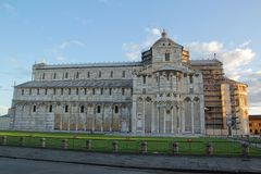 Beautiful Pisa Cathedral in the sunrise with blue sky and cloud royalty free stock photo