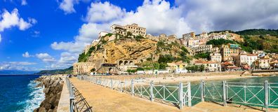 Pizzo Calabro, beautiful coastal town in Calabria. Beautiful Pizzo village,panoramic view,Calabria,Italy royalty free stock images