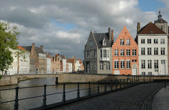 Beautiful place in Bruges. Typical houses and the beautiful canals of Bruges, wonderful place Royalty Free Stock Photography