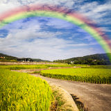 Beautiful place with nice rainbow Stock Photography