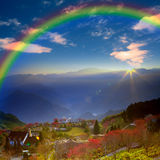 Beautiful place with nice rainbow Stock Photos