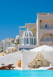 Beautiful place for rest in Santorini Stock Image