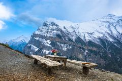 A beautiful place to stay at the top of the mountain in the Himalayas. royalty free stock photography