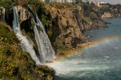 Waterfall and rainbow in Antalya, Turkey. A beautiful place for tourists, waterfall and rainbow in Antalya, Turkey Stock Images