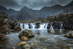 Fairy Pools at the Isle of Skye. This beautiful place you can find in Scotland. These are waterfalls with a beautiful mountain background royalty free stock photography