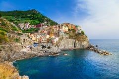 Beautiful places of Italy - Manarola village, Cinque terre stock photos