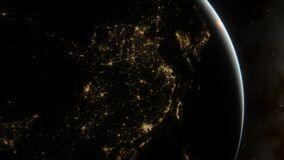 Free Beautiful Planet Earth With Night City Lights, View From Space With City Lights Showing Human Activity 3d Render Royalty Free Stock Photography - 195200257