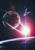 Beautiful Planets in deep black cosmos with space Stock Photography