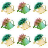 Beautiful plant in watering can tile background isolated Stock Images