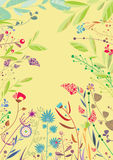 Beautiful plants. Beautiful colorful plants, flowers and leaves on the bright olive background. EPS 8.0. RGB. Can be used as template for greeting cards, banners Royalty Free Stock Images