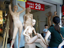 Beautiful plastic model statues, in clothing stores Royalty Free Stock Photography