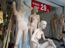 Beautiful plastic model statues, in clothing stores Royalty Free Stock Images