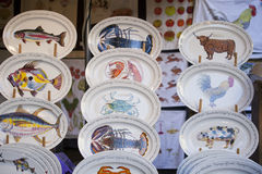 Beautiful plate with drawings on sale at Borough Market Stock Images