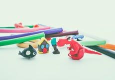 Beautiful play dough animal. Creative dinosaur, whale, house and Royalty Free Stock Photo