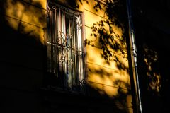 A beautiful play of light and shadow on the facade stock photography