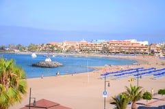 Beautiful Playa de在Los Cristianos的las Vistas在特内里费岛 库存照片